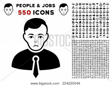 Pitiful Businessman icon with 550 bonus pity and glad men symbols. Vector illustration style is flat black iconic symbols.