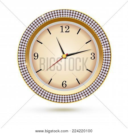 Watch with diamonds on white background. Icon of luxury clock, jewelry decoration with white dial and arrows.