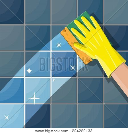 Hand in gloves with sponge wash wall in bathroom or kitchen. Cleaning service. Washing sponge. Kitchenware scouring pads. Kitchen and bath cleaning tool accestories. Vector illustration in flat style
