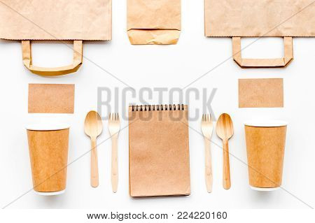 Set of craft bown paper color objects. Top view mock up pattern.