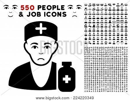 Pitiful Apothecary Doctor pictograph with 550 bonus pity and happy people graphic icons. Vector illustration style is flat black iconic symbols.