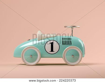 Vintage blue toy car on pink background 3D illustration
