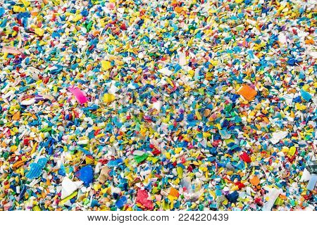 Crushed Plastic, Prepared To Be Re-melted To Recycled Plastic Pellets