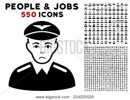 Sad Aviator pictograph with 550 bonus pitiful and happy people pictographs. Vector illustration style is flat black iconic symbols.