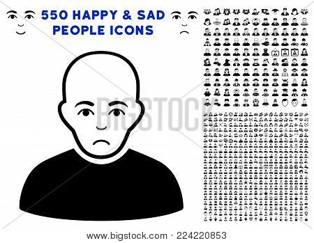 Dolor Bald Man icon with 550 bonus pitiful and glad person clip art. Vector illustration style is flat black iconic symbols.