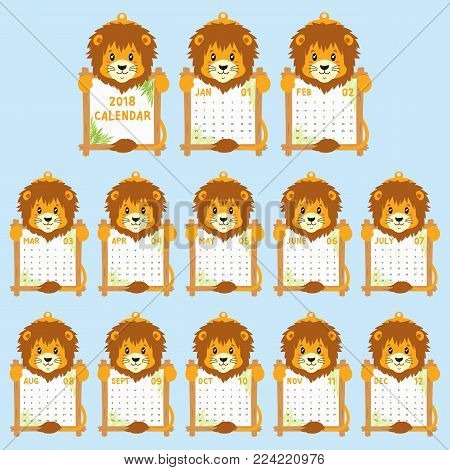 2018 calendar template. 2018 animal shaped calendar, cute and funny lion holding calendar. printable 2018 calendar cartoon vector.