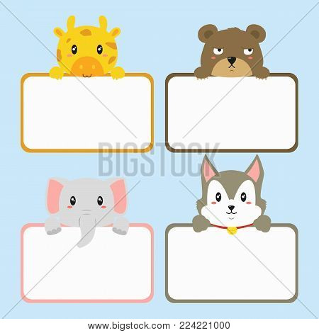 cute animals holding empty banner. cute giraffe, husky, elephant, and brown bear. animal banner template cartoon vector. printable animal banner vector set.