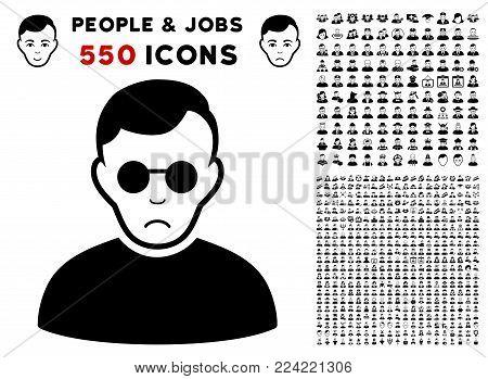 Dolor Blind Man icon with 550 bonus pitiful and glad people pictures. Vector illustration style is flat black iconic symbols.