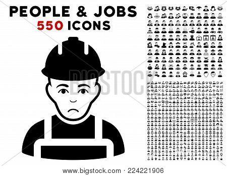 Dolor Builder icon with 550 bonus sad and glad user clip art. Vector illustration style is flat black iconic symbols.