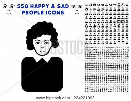 Pitiful Bureaucrat Lady pictograph with 550 bonus pity and glad men icons. Vector illustration style is flat black iconic symbols.