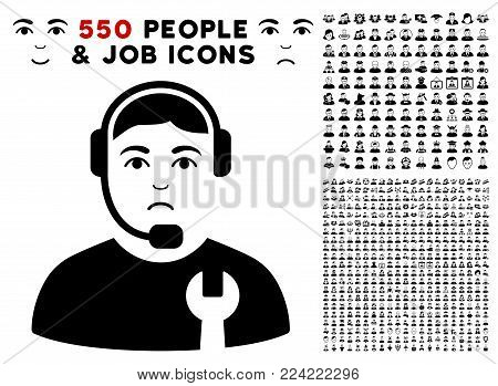 Dolor Call Center Serviceman pictograph with 550 bonus sad and happy jobs pictures. Vector illustration style is flat black iconic symbols.