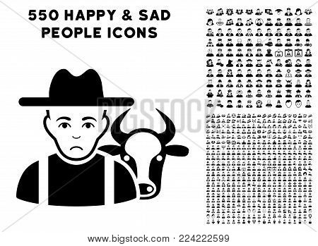 Sad Cattle Farmer pictograph with 550 bonus sad and happy men pictograms. Vector illustration style is flat black iconic symbols.