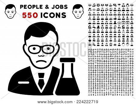Dolor Chemist pictograph with 550 bonus pitiful and glad men clip art. Vector illustration style is flat black iconic symbols.