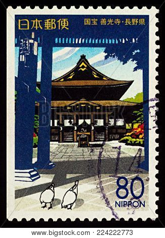 Moscow, Russia - January 30, 2018: A stamp printed in Japan shows ancient Zenko-ji Temple, National Treasure, series