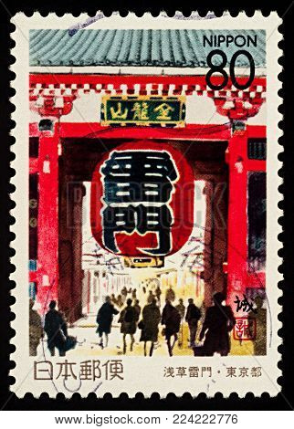 Moscow, Russia - January 30, 2018: A stamp printed in Japan shows Kaminarimon of the Senso-ji, ancient Buddhist temple in Asakusa, Tokyo, series