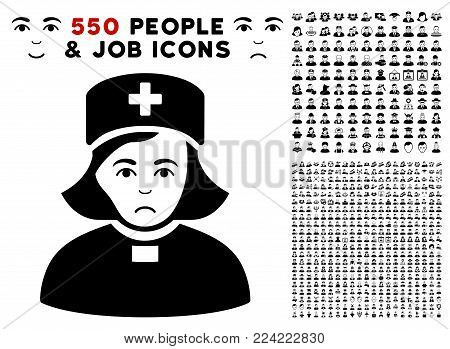 Pitiful Church Female Doctor icon with 550 bonus pity and happy user pictographs. Vector illustration style is flat black iconic symbols.