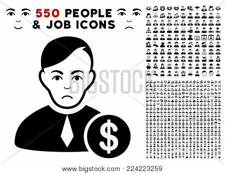 Pitiful Commercial Loyer icon with 550 bonus sad and happy men design elements. Vector illustration style is flat black iconic symbols.