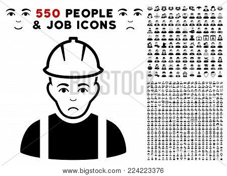 Pitiful Contractor pictograph with 550 bonus pitiful and glad jobs design elements. Vector illustration style is flat black iconic symbols.