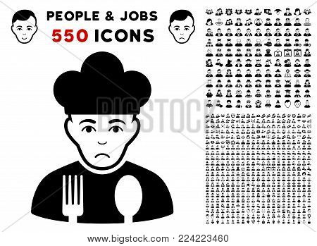 Dolor Cook pictograph with 550 bonus sad and glad user images. Vector illustration style is flat black iconic symbols.