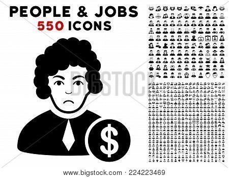 Pitiful Corrupt Judge icon with 550 bonus pity and glad men clip art. Vector illustration style is flat black iconic symbols.