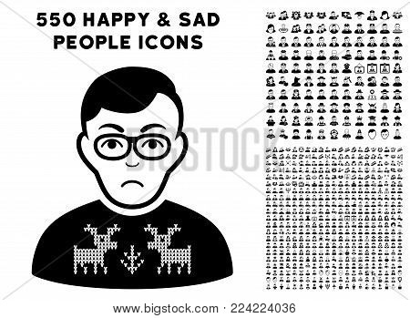 Unhappy Deers Pullover Downer pictograph with 550 bonus pity and happy jobs images. Vector illustration style is flat black iconic symbols.