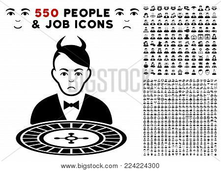 Pitiful Devil Roulette Dealer icon with 550 bonus pity and glad user pictures. Vector illustration style is flat black iconic symbols.