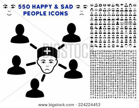 Pitiful Doctor Linked Patients pictograph with 550 bonus pitiful and happy people images. Vector illustration style is flat black iconic symbols.