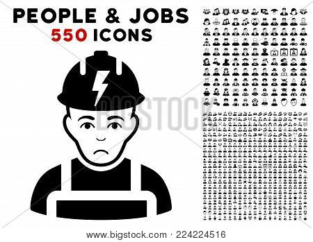 Dolor Electrician icon with 550 bonus sad and happy person icons. Vector illustration style is flat black iconic symbols.