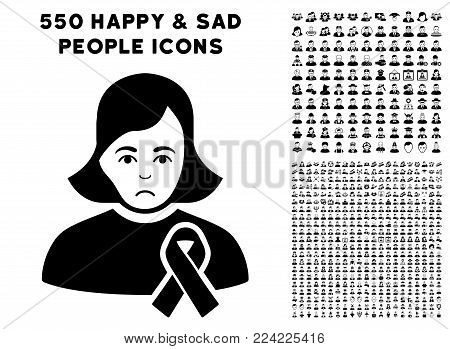 Dolor Girl With Sympathy Ribbon pictograph with 550 bonus pity and glad jobs images. Vector illustration style is flat black iconic symbols.