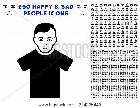 Sad Guy pictograph with 550 bonus pitiful and glad user pictographs. Vector illustration style is flat black iconic symbols.