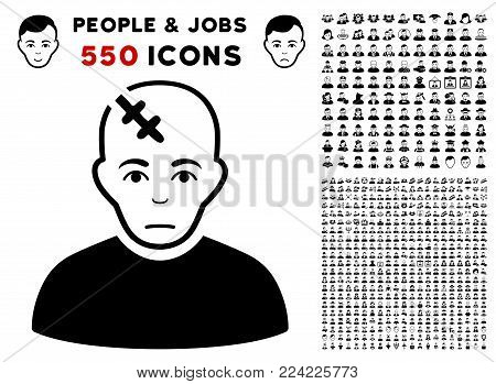 Pitiful Head Hurt icon with 550 bonus pity and happy person symbols. Vector illustration style is flat black iconic symbols.