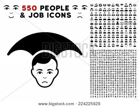 Dolor Head Umbrella icon with 550 bonus pitiful and happy men graphic icons. Vector illustration style is flat black iconic symbols.