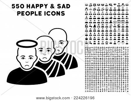 Pitiful Holy Men pictograph with 550 bonus pitiful and happy men pictographs. Vector illustration style is flat black iconic symbols.