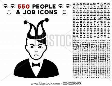 Dolor Joker icon with 550 bonus pity and happy user clip art. Vector illustration style is flat black iconic symbols.