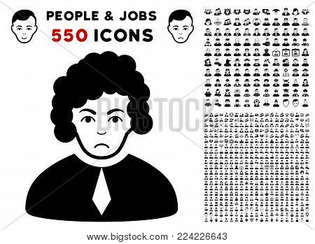 Dolor Judge pictograph with 550 bonus pity and happy user graphic icons. Vector illustration style is flat black iconic symbols.