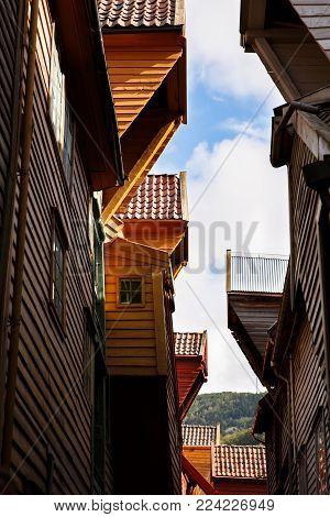 Old hanseatic buildings in Bryggen in the historical part of  Norwegian city, UNESCO World Heritage Site.