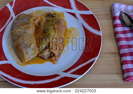 Sarma - vegetable or meat dish of cabbage leaves rolled and stuffed. Included in the cuisines of the Balkans, Central Europe and Middle East