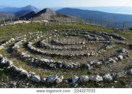 Field full of healing stones. Stone circle at the mountain, landscape nature photography