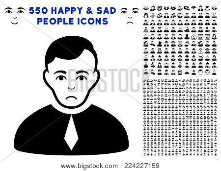 Dolor Lawyer pictograph with 550 bonus pity and glad people pictograms. Vector illustration style is flat black iconic symbols.