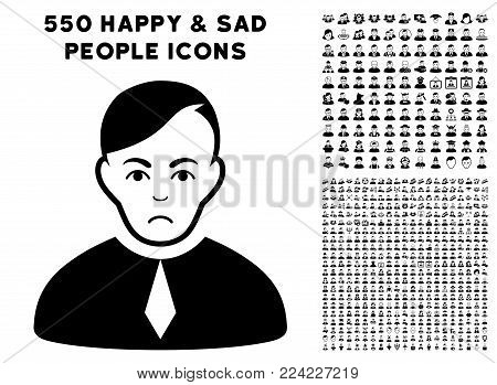 Sadly Loyer pictograph with 550 bonus pity and glad user pictures. Vector illustration style is flat black iconic symbols.