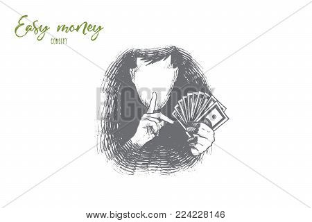 Easy money concept. Hand drawn person find a way to get a lot of money very fast and easy. Chance to become rich isolated vector illustration.