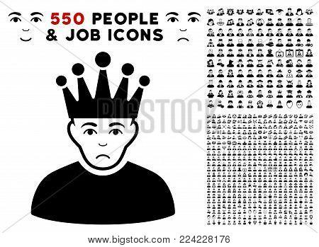 Dolor Moderator icon with 550 bonus sad and glad user images. Vector illustration style is flat black iconic symbols.