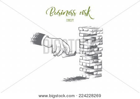 Business risk concept. Hand drawn hand of businessman placing out wood block on tower. Risk and strategy in business isolated vector illustration.