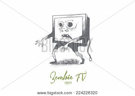 Zombie TV concept. Hand drawn media zombie person with tv set instead of head. Man with television head isolated vector illustration.