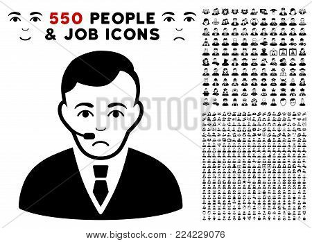 Unhappy Operator pictograph with 550 bonus pity and happy men pictographs. Vector illustration style is flat black iconic symbols.