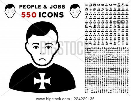 Dolor Order Chevalier pictograph with 550 bonus pity and happy person symbols. Vector illustration style is flat black iconic symbols.