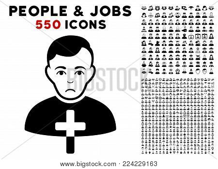 Dolor Orthodox Priest pictograph with 550 bonus pitiful and happy people pictographs. Vector illustration style is flat black iconic symbols.