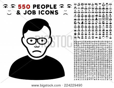 Pitiful Pensioner icon with 550 bonus pity and glad user pictograms. Vector illustration style is flat black iconic symbols.