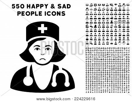 Pitiful Physician Lady pictograph with 550 bonus pity and glad jobs clip art. Vector illustration style is flat black iconic symbols.