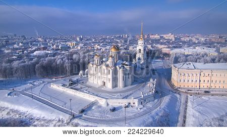 Aerial view of Assumption Cathedral in clear winter day. Vladimir. Russia. Uspenskiy Cathedral